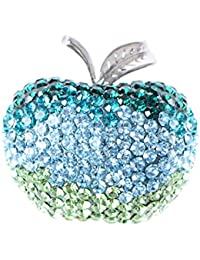 Womens Silver Tone Ombre Blue Green Crystal Rhinestone Apple Fruit School Teacher Brooch Pin