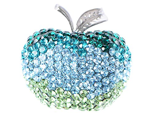 Fruit Brooch Pin (Alilang Womens Silver Tone Ombre Blue Green Crystal Rhinestone Apple Fruit School Teacher Brooch Pin)