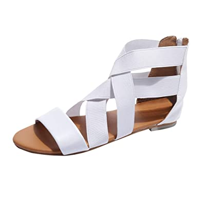 2e489bd0ab34bb Sunenjoy Chaussures Sandales Plates Femmes de Ville Été Romain Confortable  Élastique Strappy Décontractée Plage Sandales Talons