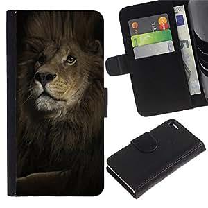 KingStore / Leather Etui en cuir / Apple Iphone 4 / 4S / León Mane Poderoso Rey Animal Negro