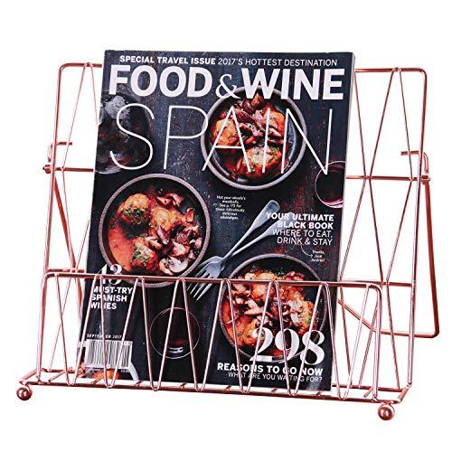 Nugorise Cookbook Stand, Metal Recipe Book Holder, Multifunctional Display Stand Rack for Menu, Cookbook and Music Book, Rose Gold