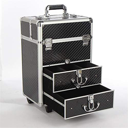 Amazon.com: Aluminum Lockable Rolling Makeup Trolley Train Case with Large Sliding Drawers and 2PCS Wheels for Easy Portable Travel: Sports & Outdoors