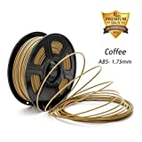 Coffee ABS 3D Filament, 3D Printer Filament 1.75mm,Dimensional Accuracy +/- 0.02 mm 2.2 LBS (1KG) Spool, DAZZLE LIGHT