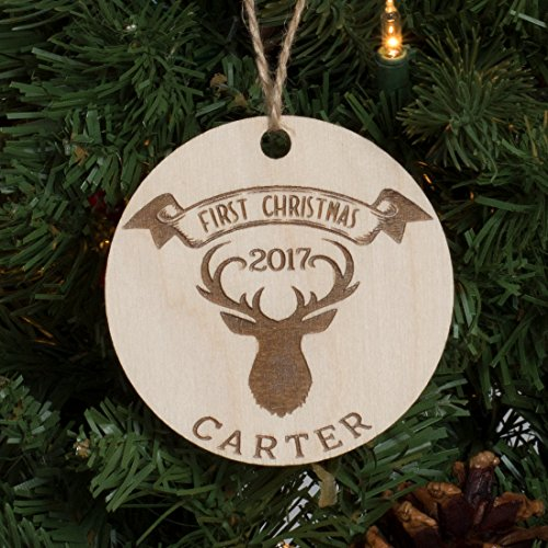 as Personalized Ornament Engraved Wood - Deer ()