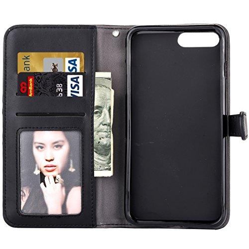 Mobile protection Para iPhone 6 Plus & 6s Plus Patrón de flor de bordado horizontal Flip caja de cuero con titular y ranuras para tarjetas y marco de la carpeta y de la foto ( Color : Red ) Black