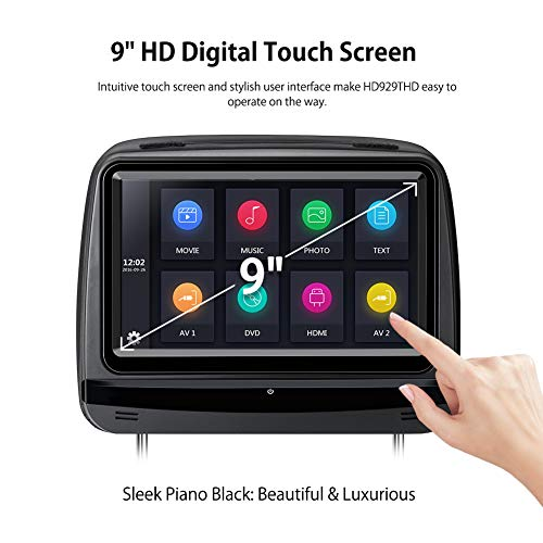 XTRONS 2x9 Inch Pair Touch Screen Car Auto Headrest DVD Player Game 1080P Video Built-in HDMI Port Headphones Included (Black) by XTRONS (Image #2)