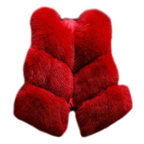Outwear Coat Twill Vest Ladies ZongSen Jacket Sleeveless Shaggy Cardigan Fur Red Women Faux XwSqPv