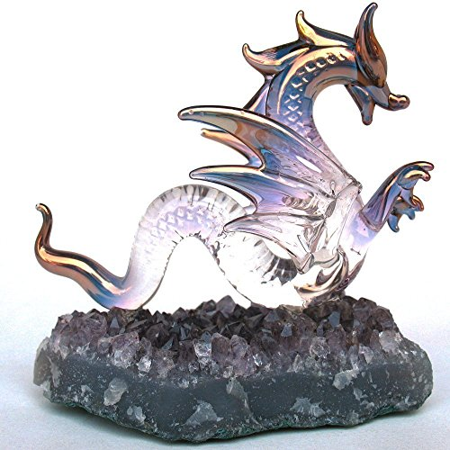 Dragon Serpent Figurine of Hand Blown Glass on Amethyst Crystals