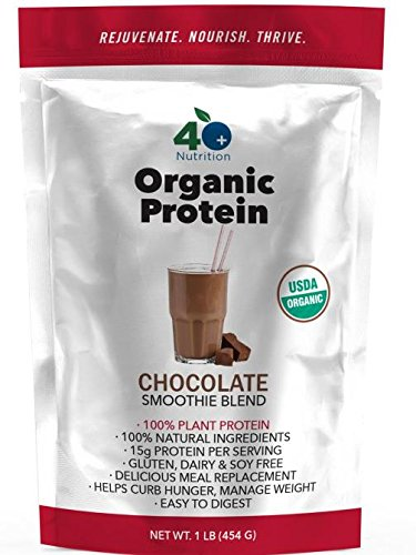 Organic Plant Based Protein Blend Smoothie Powder, Delicious Vegan Superfood, Chocolate Clean Healthy Shake, Non-GMO Gluten Free - FORTY PLUS NUTRITION (Chocolate No Salt Milk)