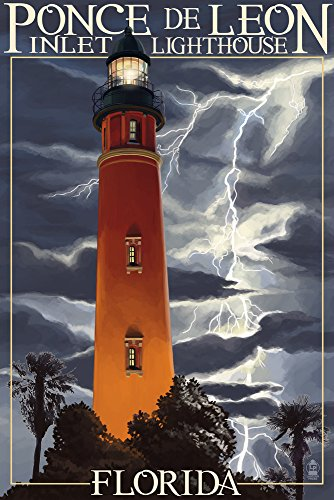 Ponce De Leon Inlet Lighthouse, Florida - Lightning at Night (12x18 SIGNED Print Master Art Print w/Certificate of Authenticity - Wall Decor Travel Poster)