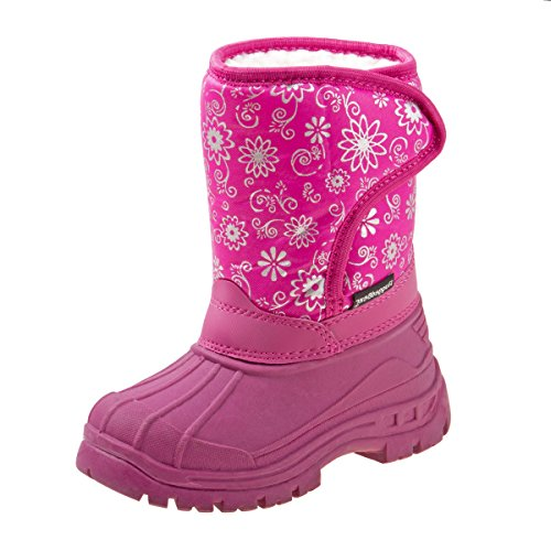 Rugged Bear Girls Snow Boots with Snowflake Print, Pink, 10 M US Toddler'