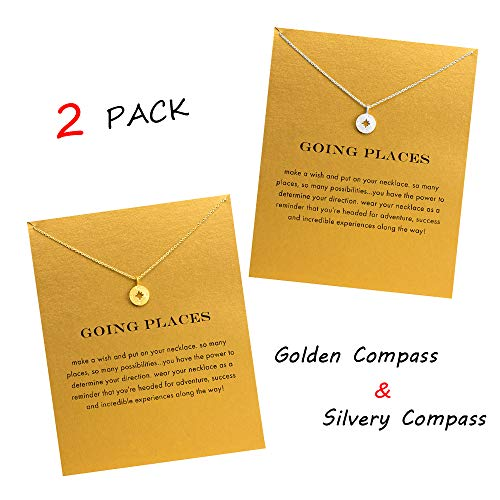 (QXFQJT Sun Compass Necklace Best Friend Anchor Horseshoe Deathly Hallow Pendant Chain Necklace with Meaning Cards)