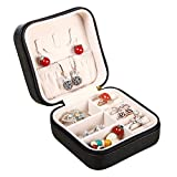 YAPISHI PU Leather Small Portable Jewelry Box Display Organizer Travel Storage Case for Rings Earrings Necklace (Black)