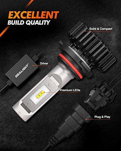 SEALIGHT 9005/HB3 High Beam 9006/HB4 Low Beam LED 18000LM Headlight Bulbs Combo Package CSP Chips 6000K Cool White
