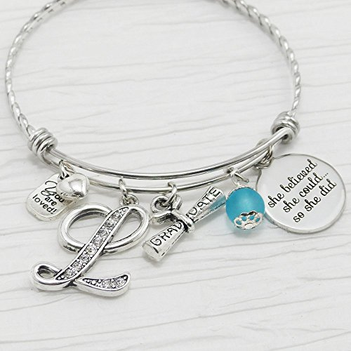 (Graduation Gifts for Her, Graduation Bangle Bracelet, Expandable, Initial Letter Bracelet, She Believed she could so she did, Graduate)