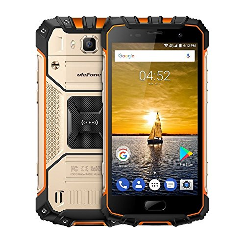 Ulefone Armor 2 5.0 Inch Android 7.0 Unlocked Smartphone - Waterproof Shockproof Dustproof MT6753 64Bit Octa core 1.3GHz 6GB RAM + 64GB ROM 13MP / 5MP Camera 4G Dual SIM Mobile Phone Gold