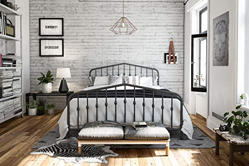 Novogratz Bushwick Metal Bed, Queen, Grey Bedroom Vintage Sleigh Bed
