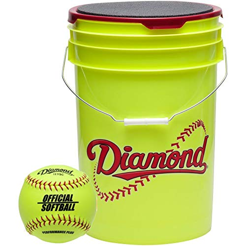(Diamond 6-Gallon Ball Bucket with 18 11YOS 11-inch Softballs, Yellow)