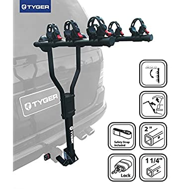 TYGER® Deluxe Black 3-Bike Hitch Mount Bicycle Carrier Rack with Hitch Lock. (Fits 1.25 or 2-Inch Receiver)