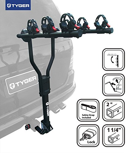 TYGER Deluxe Black 3-Bike Hitch Mount Bicycle Carrier Rack with Hitch Lock. (Fits 1.25 or 2-Inch Receiver) by...