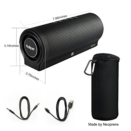 Holiper 20W Portable Wireless Bluetooth Speaker with Bass,Micro-SD Card Slot,Mic,Powerful Stereo Sound, subwoofer,Durable Design for Laptop/iPhone/iPad/Phones/Tablet/PC/TV/MP3/desktop computer,Black