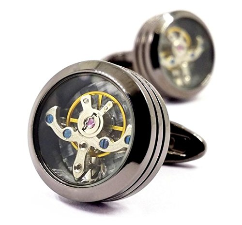 LBFEEL Vintage Watch Steampunk Cufflinks Mechanical Watch Movement Cufflinks (Gun (Mechanical Watch Cufflinks)