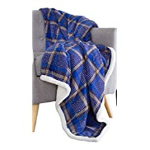 Bedford Home 61A-01645 Fleece Sherpa Blanket Throw, Plaid Blue/Yellow