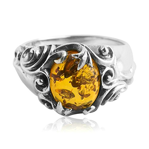 Epinki 925 Sterling Silver Punk Rock Vintage Gothic Yellow Amber Ring for Men Size 6.5 by Epinki