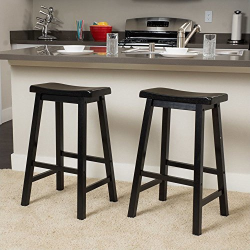 TimmyHouse Stool Bar Counter 2 Pcs Saddle Seat Chair Dinning Room Chair Solid Wood 29-Inch