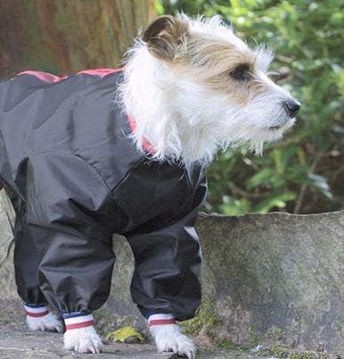 Waterproof Nylon Dog Trouser Suit Dog Coat Red Black or Navy BLACK 26 66cm