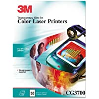 3M Color Laser Printer Transparency Film, Clear, Letter, 50/Box