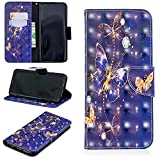 for Samsung Galaxy S9 Plus Wallet Case and Screen Protector,QFFUN Glitter 3D Pattern Design [Purple Butterfly] Magnetic Stand Leather Phone Case with Card Holder Drop Protection Etui Bumper Flip Cover