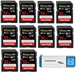SanDisk 32GB (Ten Pack) SD HC Extreme Pro Memory Card for Digital DSLR Camera SDHC 4K V30 UHS-I (SDSDXXG-032G-GN4IN) with Everything But Stromboli (TM) 3.0 SD/TF Reader
