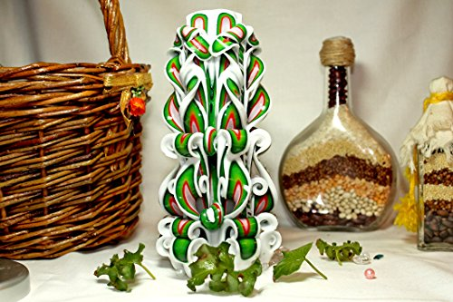 Beautiful carved candle, decor, best gift, white and green candle, festive candle.
