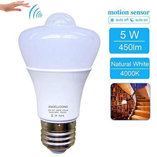 Cheap 5W PIR Motion Sensor Light Bulb Indoor ,Smart Sensor Bulb E26/E27 Outdoor Motion Activated Light Bulb Natural White Auto Switch LED Night Light Bulb for Frontdoor Stairs Garage Corridor Walkway Yard