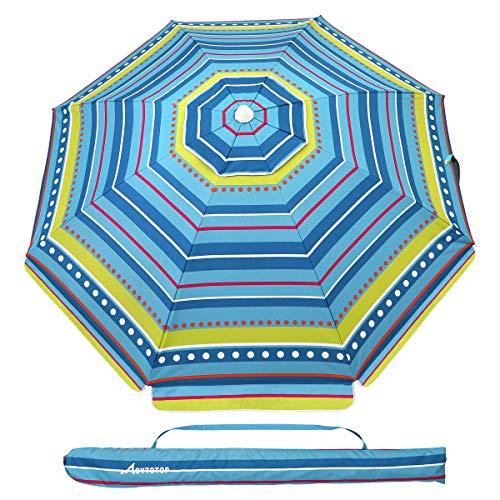 MOVTOTOP Beach Umbrella, 6.5ft Sand Anchor with Tilt Aluminum Pole, Portable UV 100+ Protection Beach Umbrella with Carry Bag for Outdoor Patio (Blue/Yellow Stripe)