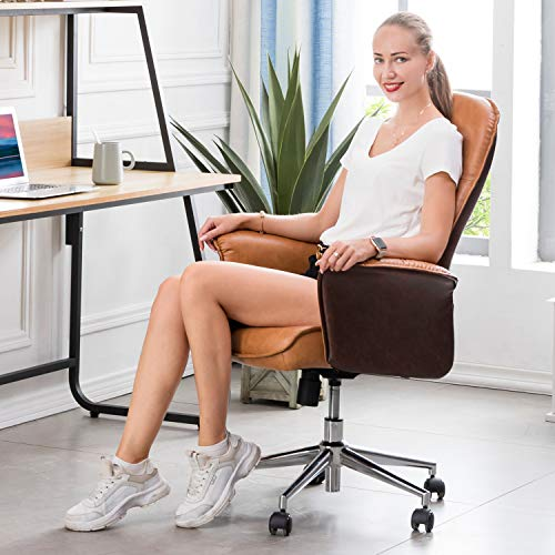 XIZZI Ergonomic Office Chair,Modern Computer Desk Chair,high Back Leathe Desk Chair with Lumbar Support for Executive or Home Office (Brown+Light Brown)