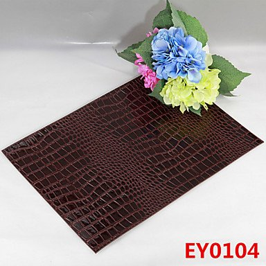 WWQY 6 Crocodile Texture Leather Without Washing Placemat / Wedding Party Decoration / Table Decoration / Weddings / Dinner , coffee Leather Crocodile Coffee Table