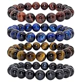 Bivei AA Quality Mens Womens 10MM Natural Tiger Eye Stone Gemstone Buddhist Mala Meditation Power Elastic Stretch Bracelet(Tiger Eye 4pc/Set)
