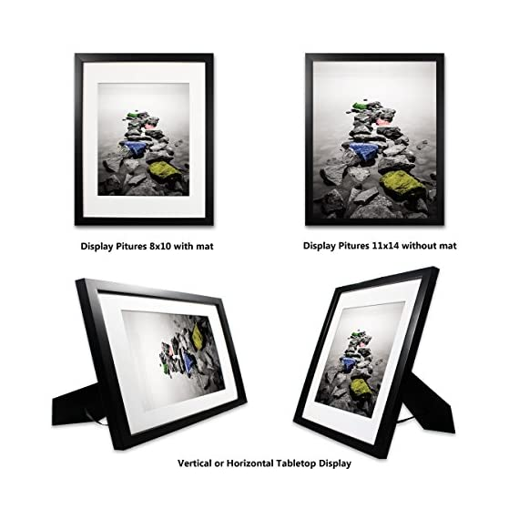 SuperDecor 11x14 Black Picture Frame - Made to Display Pictures 8x10 with Mat or 11x14 Without Mat - Wall and Tabletop Display Poster Frame - Pre-Installed Wall Mounting Hardware - MODERN DESIGN: SuperDecor 11x14 Picture Frame ideal for poster, prints, family portraits, pictures, documents, certificates, diplomas and photographs. The picture frames fit 8x10 inch with mat or 11x14 inch photo without mat. ATTRACTIVE LOOK: The 8x10 poster frame with mat makes your artwork, prints or photos seem lofty. And white mat makes picture look more exquisite. 11x14 wall frames is great choice for your living room, bedroom, kitchen, dining room, office, studio, gallery, dorm room, bathroom, bar, hotel, restaurant wall decoration. Perfect for Birthday and Party gifts. STURDY DESIGN: The 11x14 frames are made by high quality composite wood. For displaying the picture better, the 8x10 black picture frame with mat comes with easy opening tabs and sturdy metal tabs at the back for easy access for loading photos. - picture-frames, bedroom-decor, bedroom - 51jYr6Rs5BL. SS570  -