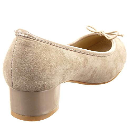 Sopily - Zapatillas de Moda Bailarinas decollete Tobillo mujer pajarita Talón Tacón ancho 3.5 CM - Caqui