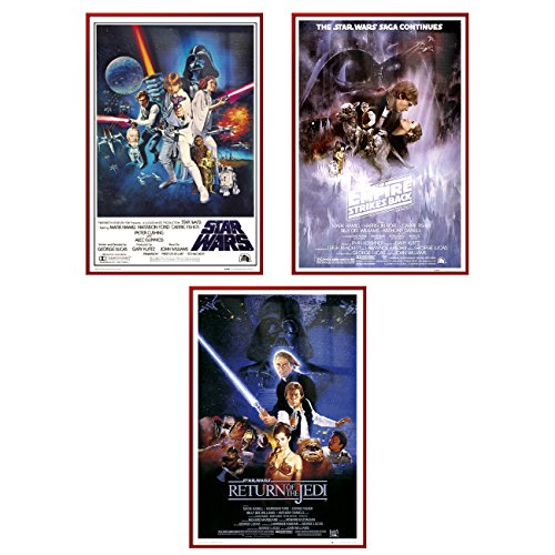 Star Wars Episode IV, V & VI - Framed 3 Piece Movie Poster / Print Set (3 Regular Style Posters) (Size: 24'' x 36'' each) by Poster Art House
