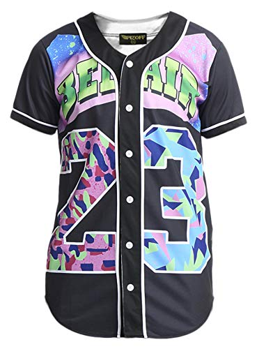 "PIZOFF Short Sleeve Arc Bottom 3D Colorful Number 23"" Print Baseball Jersey Shirt Y1724-19-M"