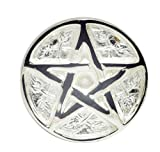 New Age Pentagram Altar Brass with Silver Plating Tile,3-Inches