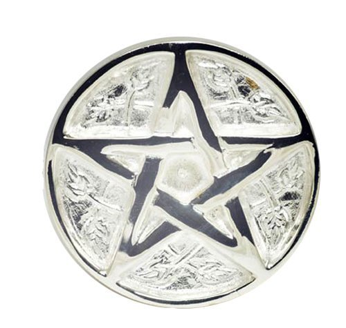 New Age Pentagram Altar Brass with Silver Plating Tile,3-Inches (Pentacle Tile Altar Silver)