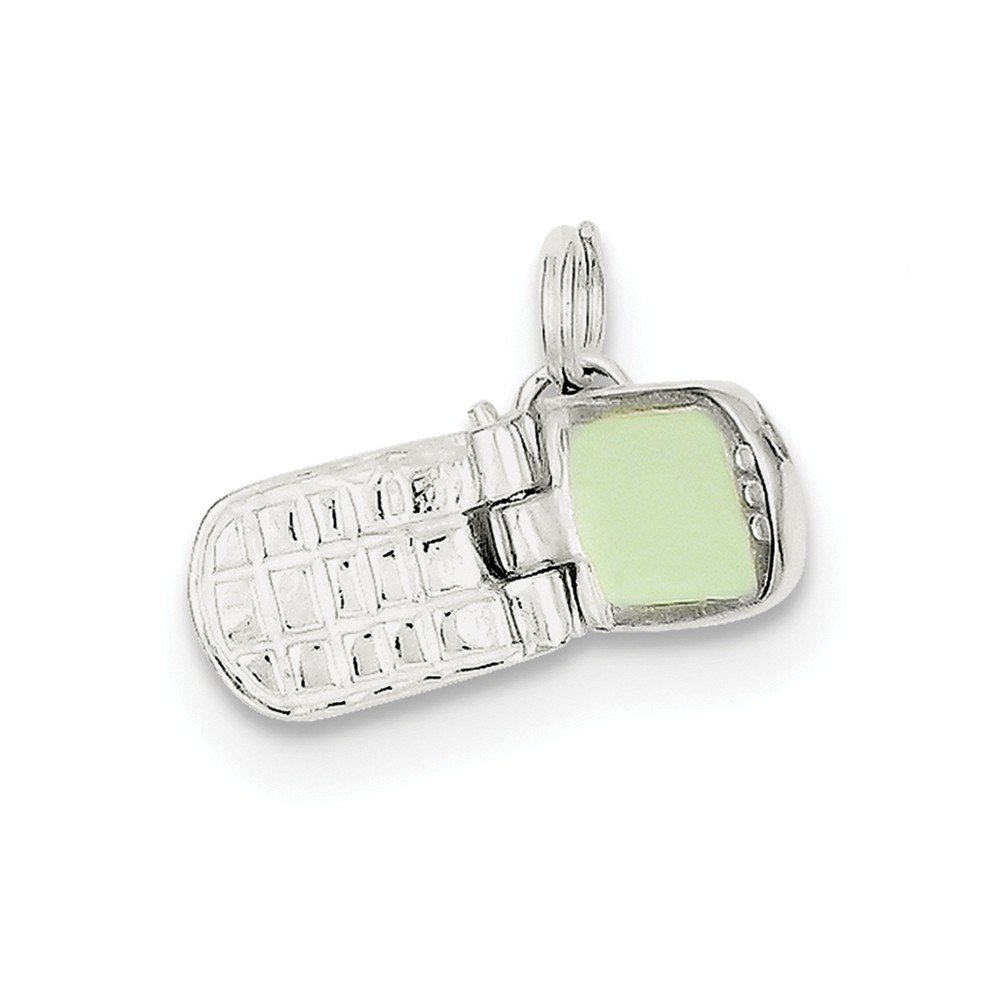 0.79 in x 0.39 in Jewel Tie Sterling Silver Enameled Cell Phone Charm