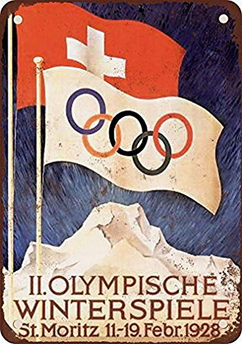Uptell 1928 Winter Olympics St. Moritz Switzerland Vintage Look Reproduction Metal Tin Sign 8X12 Inches