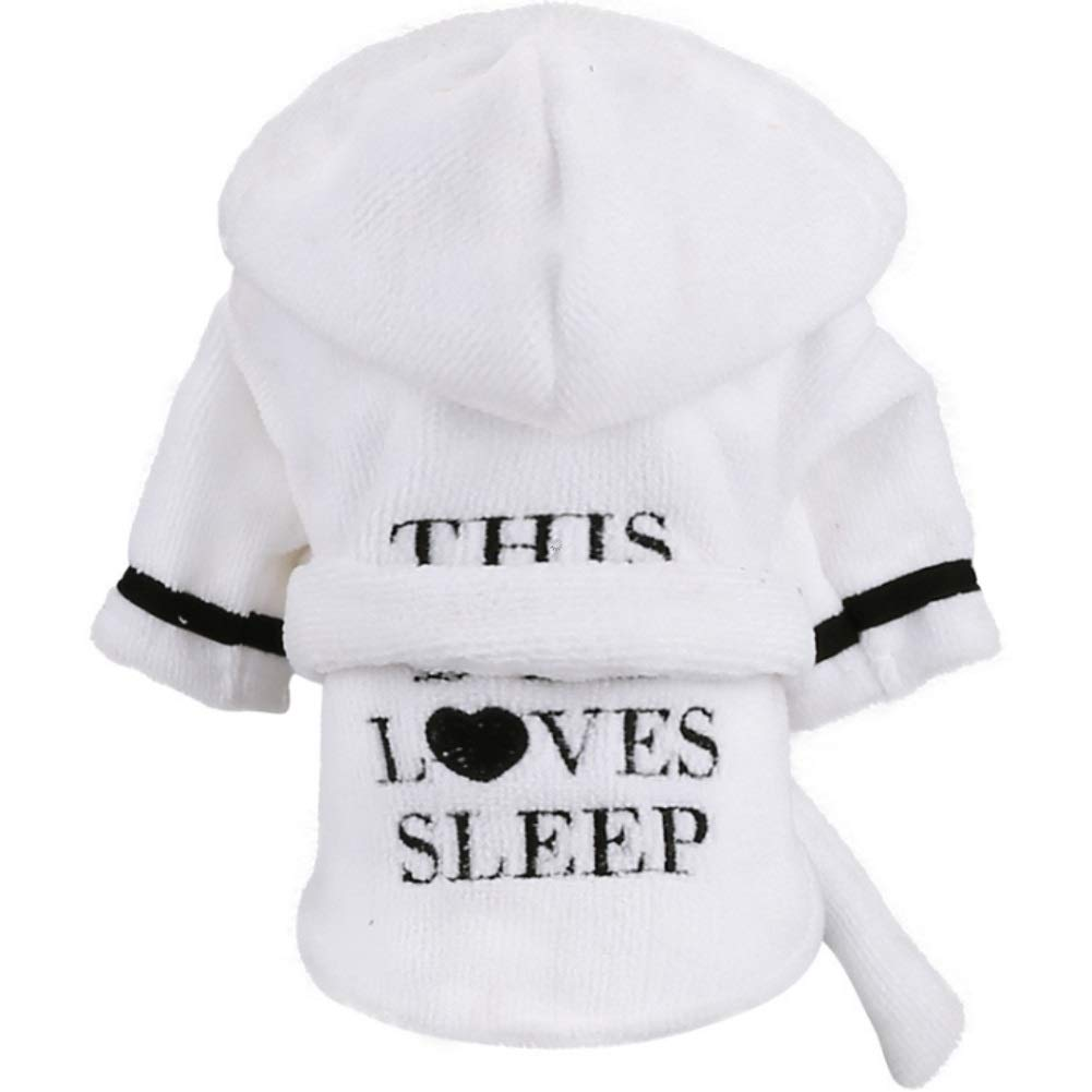 Stock Show Pet Pajama with Hood Thickened Luxury Soft Cotton Hooded Bathrobe Quick Drying and Super Absorbent Dog Bath Towel Soft Pet Nightwear for Puppy Small Dogs Cats, White