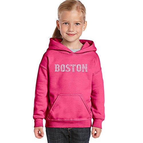 LA POP ART Girl's Word Art Hooded Sweatshirt - Boston Neighborhoods Pink