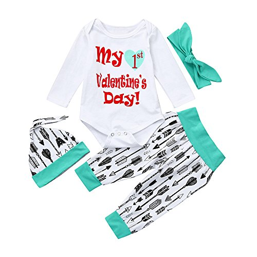 Sunhuisng Toddler Infant Baby Valentine's Day Outfits Letters Print Long Sleeve Romper+Pants+Hat Set -